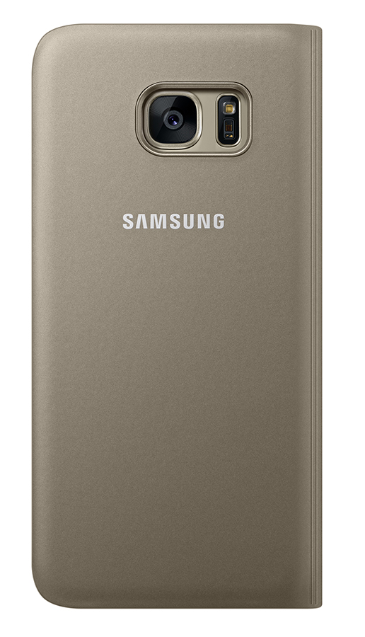 Capa Protetora Clear View Dourada Galaxy S7  EDGE 1